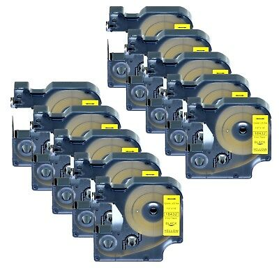 "10x 18432 Black on Yellow Vinyl Label 1/2"" for DYMO RHINO 4200 5200 6000 Printer"