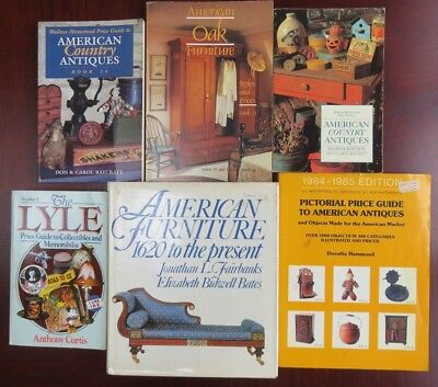 6 American Antiques Furniture Books Collectibles Vintage Collectors Book Lot