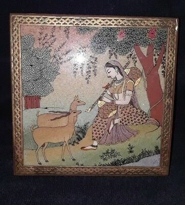 Vtg Crushed Stone/gemstone Painting Of Woman & Deer On Wood & Brass Box India