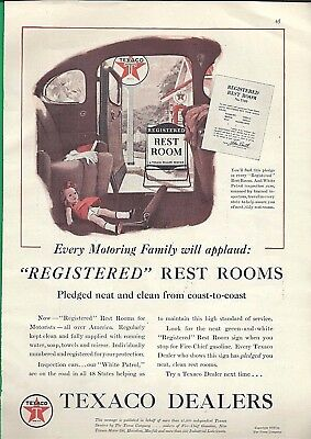 1938 Ad ~ Texaco Dealers ~ Registered Rest Rooms ~ Pledged Neat & Clean
