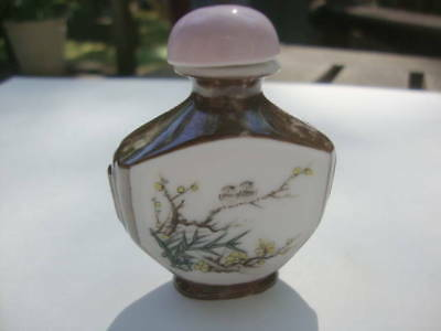 Vintage Collectible Chinese Snuff Bottle Hand Painted Bone China Soft Scenes!