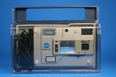 Minolta Disc-7 Disc Film Camera - Selfie Mirror!  With flip-open plastic box
