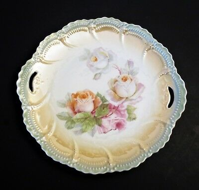 Antique Vintage Leuchtenburg Germany Plate ~ Roses Hand Painted Embossed ~ 9.5""