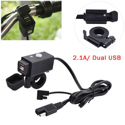 Motorcycle SAE to USB Cable Charger Adapter 2.1A Dual Port Power Socket 18AWGx2C