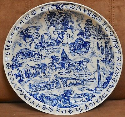 Vernon Kilns State of Texas Plate - Cattle, brands, Alamo