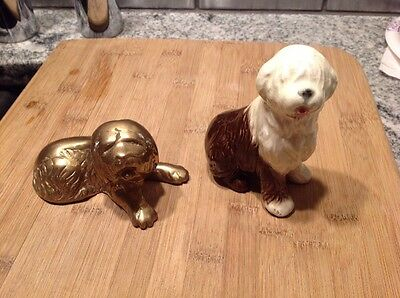 Goebel Vintage Old English Sheepdog Lot Of Two. Enesco Imports Brass OES