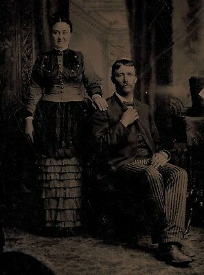 Old Vintage Antique Tintype Photo Young Couple In Awesome Funky Period Clothes