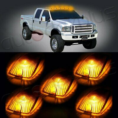 5 Cab Marker Roof Light Amber + Free 5X 5050 White LED for GMC/Chevy C1500-3500