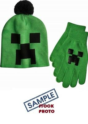 afb7631d5ceee MINECRAFT CREEPER BEANIE KNIT HAT   GLOVE SET NEW w TAGS ONE SIZE FITS MOST  EVG