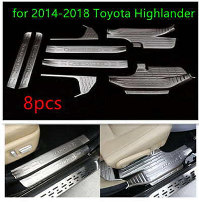 8pcs Stainless Door sill scuff plate Guards Sill for 2014-2018 Toyota Highlander