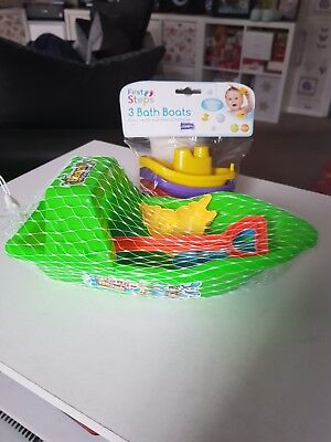 2 new childrens toys first steps 3 bath boats,sandy beach toys