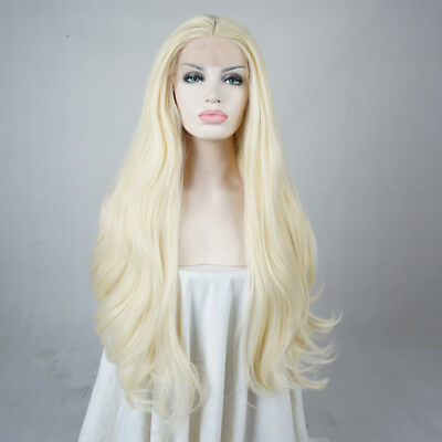 Fasching Blonde 18/20/22/24 Inches Lang Wavy Damen Fashion Haar Lace Front Wig