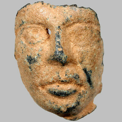 Ancient Greek Bronze Fragment , Male Face Shaped Circa 500-300 BC