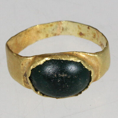 INTACT-Greek Gold Ring With Nice Unknown Green stone Circa 300-100 BC