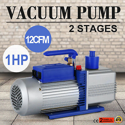 Electric 12 CFM Rotary 1 HP Air Vacuum Pump HVAC Refrigerant Conditioning A/C