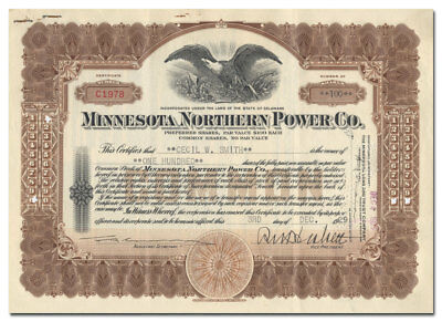 Minnesota Northern Power Co. Stock Certificate (Rolland Heskett)