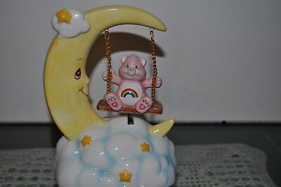 Care Bears Bear CHEER BEAR SWINGING Musical Music Box Figure Vintage