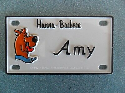 "2 Amy Scooby-Doo bike Name Plates  Door Signs circa 1972  About 4"" x 2"" plastic"