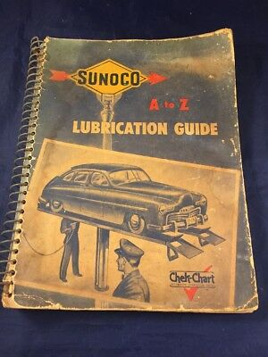 1948 SUNOCO A To Z LUBRICATION GUIDE Guide Chek-Chart Automotive Lubrication