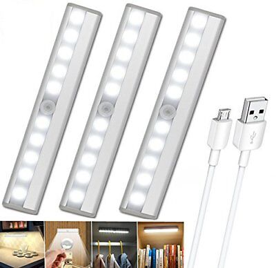 10 LED Wireless PIR Motion Sensor Cabinet Light Under Closet Counter Lamp Bar