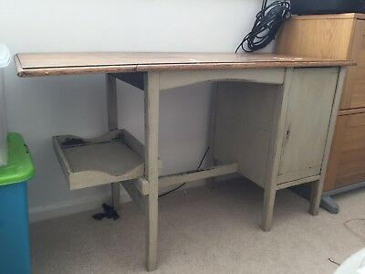 vintage oak drop leaf desk with Farrow and Ball distressed painted base