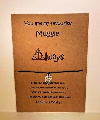 Harry Potter Hedwig 'You are my favourite Muggle' Friendship Wish Bracelet Gift