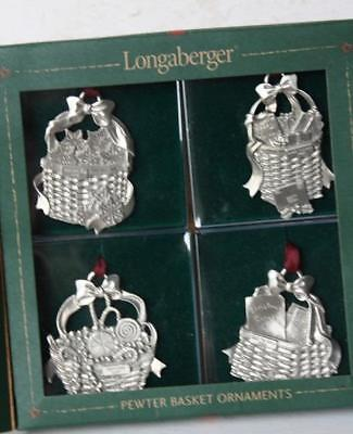 Longaberger Pewter Basket Christmas Collection 2002 Ornaments Set of Four-COOL