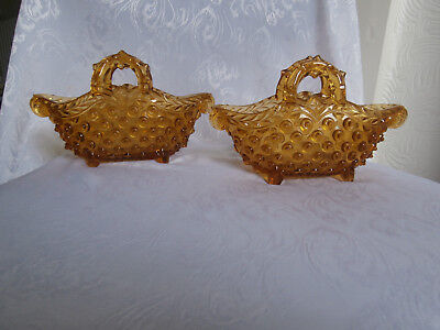 Vintage Amber Glass Pair Of Amber Coloured Glass Hand Bag Shaped Vases Ornaments