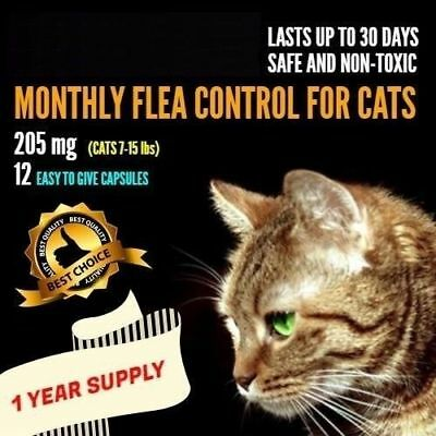 12 Monthly Capsules Flea Treatment 205mg Cats 7-15 lbs FAST Ship