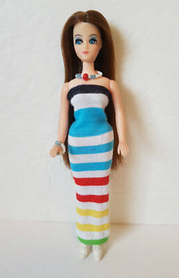 DAWN DOLL CLOTHES  Summer Stripes Dress and Jewelry Handmade Fashion NO DOLL d4e