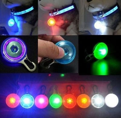 Pet Dog Cat Puppy LED Flashing Collar Safety Night Light Pendant New W / Battery