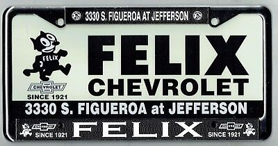 RARE Felix Chevrolet Los Angeles California Vintage Dealer License Plate  Frame