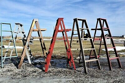 1 Wood Ladder With 5 Steps - 35 Colors For Shelving & Storage