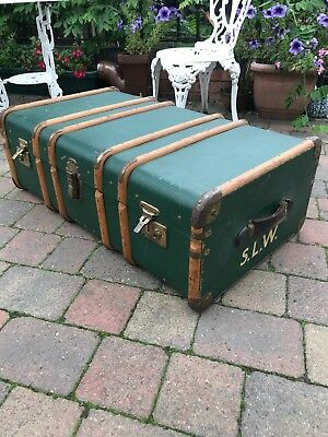 Vintage Antique Pine Ribbed Travel Case Steamer Trunk Coffee Table