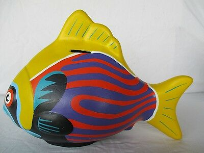 Fish Bank Ceramic Very Colorful Made In Mexico