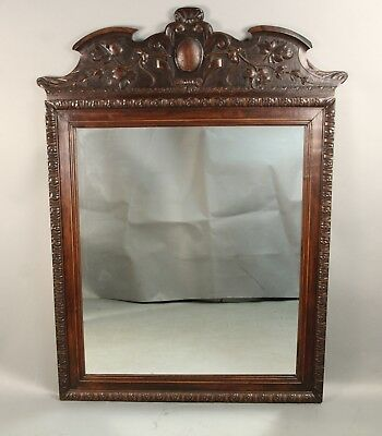 Early 20th Century Spanish Reviva Carved Wood Mirror Antique Vintage (11355)