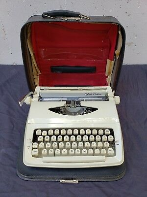 Vintage Royal Quiet Deluxe Portable Typewriter White W Case AS IS NEEDS REPAIR
