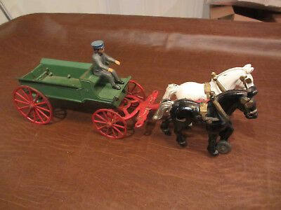 VINTAGE ANTIQUE 1900s KENTON TOYS CAST IRON 2 HORSE DRAWN DELIVERY WAGON  DRIVER