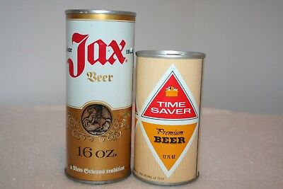Jax Beer 16 oz. & Time Saver 12 oz. SS pull tab beer cans from New Orleans, LA.