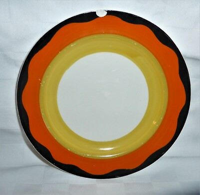 GRAYS POTTERY- ART DECO BANDED GEOMETRIC  HAND PAINTED PLATE  A187 16cm diameter