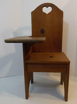 Vintage Handmade Wood Children's Toddler Desk Chair With Cut Out Heart