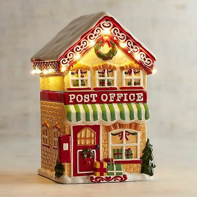 pier 1 imports christmas light up battery led village post office cookie jar