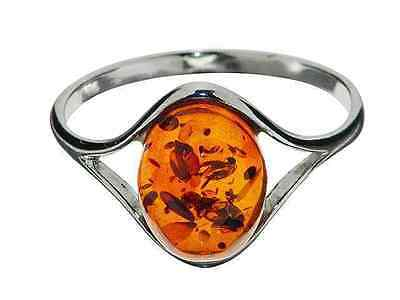 Ring 925 Sterling Silver 10 x 8 mm Genuine Cognac Baltic Amber