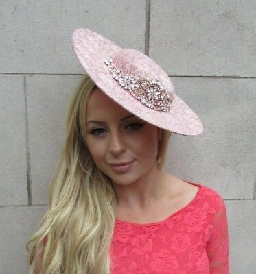 Large Rose Gold Blush Nude Pink Lace Boater Hat Fascinator Disc Hair Clip 6214