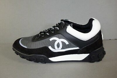 d214af7edb7 CHANEL 36.5/6 Black Grey CC SOLD OUT Lace Up Weekend Sneakers Shoes  Trainers NEW