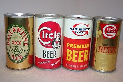 Ballantine Ale, Circle, Giant Food, Grand Union 12 oz. SS beer cans from NJ
