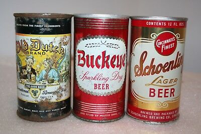 Old Dutch 12 oz. flat top, Buckeye & Schoenling SS pull tab beer cans from Ohio
