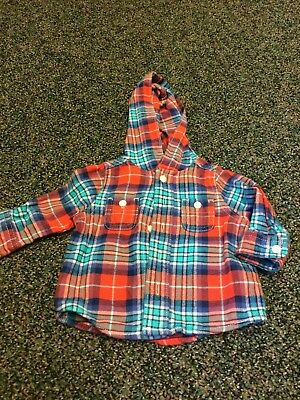 *OshKosh Infant Boy Plaid Hooded Flannel Shirt 6months – EUC