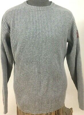 Nautica Jeans Company Mens Large Sweater Ribbed Crew Neck Gray