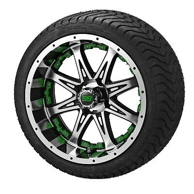 "4 Golf Cart 215/35-12 Tire on 12"" Black/Machined Revenge Wheel W/Green Inserts"